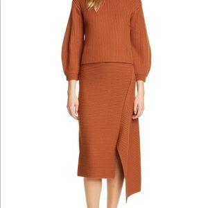 Tibi Origami Ribbed Merino Wool Midi Skirt